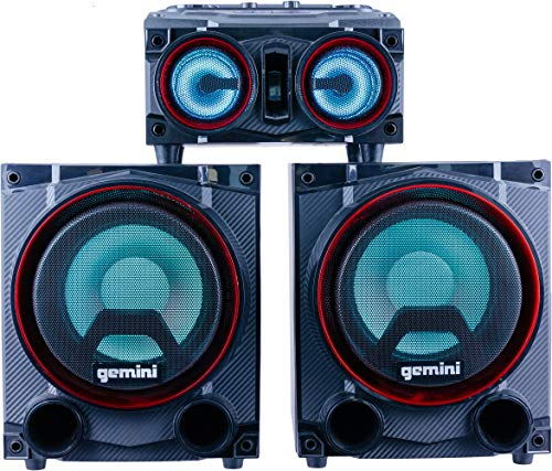 """Gemini Sound GSYS-2000 Bluetooth LED Party Light Stereo System and Home Theater Audio System with 2000W Watts Bookshelf Speakers, Dual 8"""" Woofers, Media Player, FM Radio, USB/SD Playback"""