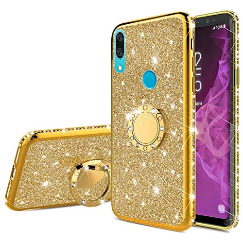 Nadoli Coque Strass pour Huawei P Smart Z,Brillante Diamant Coque Housse pour Fille Femme Glitter Pailleté Anneau Stand Support Silicone Bumper Cover pour Huawei P Smart Z,Or