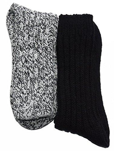 REFLEXX 4 Paar flauschig-warme Norweger-Socken Farbe:Dunkle Töne;Größe:43-46