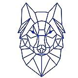 Vinilo adhesivo para pared con diseño de lobo geométrico,