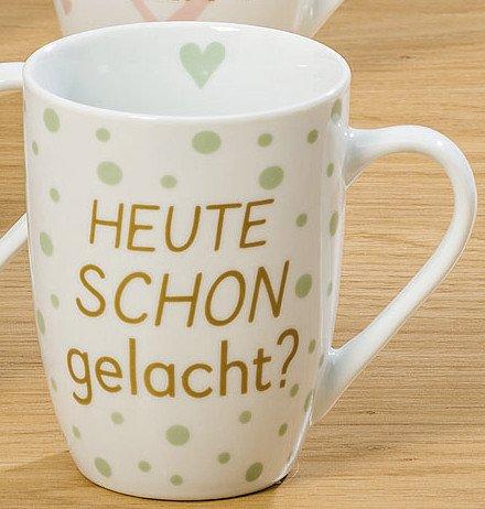 Bloominghome Tasse mit Henkel 330ml Porzellan Heute Schon gelacht? H11 cm Kaffeebecher