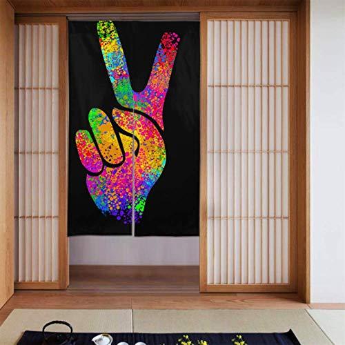 Generies Küchenvorhänge für Tür Hippie-Symbole Zwei Finger Zeichen Sieg Küchenvorhang Krawatten Große Küchenvorhänge Lange Schrift für zu Hause Küchentür Dekoration 34 x 56 Zoll (86x143cm)