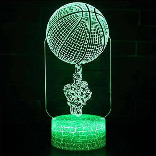 Luz nocturna para niños 3D Baloncesto 16 colores y control remoto táctil – mesa de noche iluminación regalos juguetes de niñas niño niños para cumpleaños vacaciones Navidad