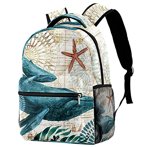 Whale Watercolor Colourful School Bag Cute Kids Backpack Fashion Casual Daypack Lightweight Durable for Preschool Boys Girls Teens