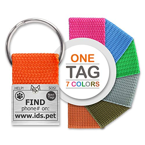 NaviTagi Set Pet ID Tags for Large and Extra Large Dogs. Personalized w/ID Number. Reliable Design, Strong Stainless Steel Ring. 2 Phones Updatable Online, Name Safe (1 Tag - 7 L)