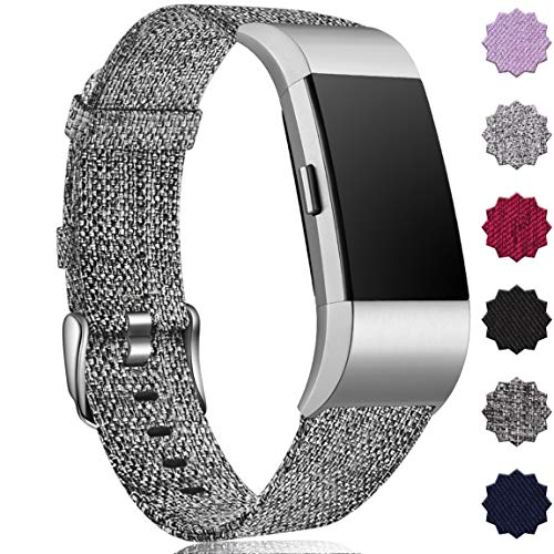 Maledan Compatible with Fitbit Charge 2 Bands for Women Men, Small, Charcoal