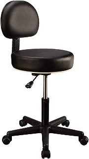 Master Massage Pneumatic Hydrolic Rolling Massage Clinical Spa Tattoo Office Swivel Stool with Backrest, Black