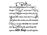 Imposing Design I Believe Everything Happens for a Reason 23 x 23 Vinyl Wall Quote Decal Sticker Monroe Hepburn Religious Corinthians Wall Art Decor Motivational Inspirational Decorative Lettering