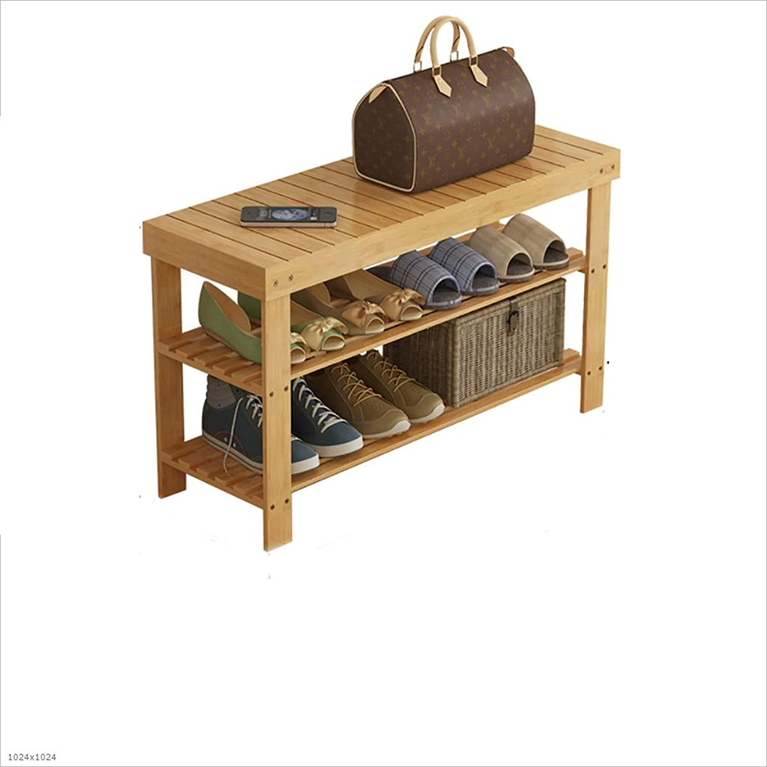 shoes Bench Organizing Rack Natural Bamboo shoes Rack 2 Layers dustproof Bamboo Change shoes Stool shoes Cabinet (Size   50  28  45cm)