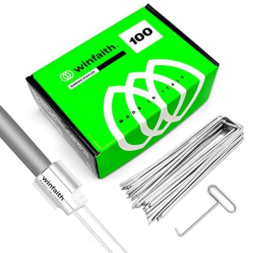 Winfaith 100 Picchetti Telo Pacciamatura H150 x L30 x D3 mm Pezzi con Pianta Picchetti in Alluminio - Filettatura Universale Made in Italy - Picchetti Acciaio EN 10204 3.1 Zincato A Caldo