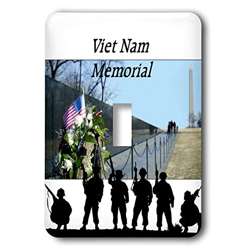3dRose lens Art by Florene - Memorial Day - Image of Viet Nam Memorial With Silhouette Soldiers - single toggle switch (lsp_309798_1)