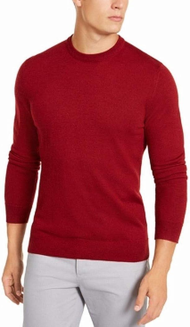 Alfani Mens Sweater Crewneck Solid Pullover Knit Wool Red 3XL