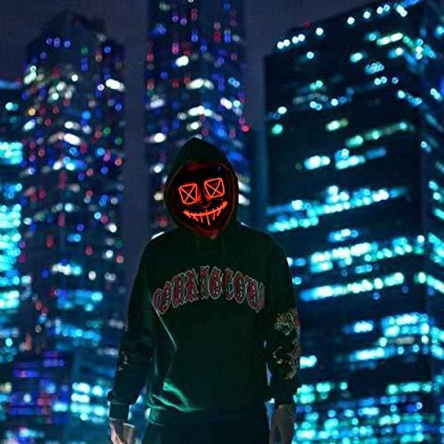Queta Maschera di Halloween LED Maschera di Cavo di Luce Maschera di Spurgo Cosplay per Festival, Halloween Cosplay, Festa in Costume, Natale (Rosso)