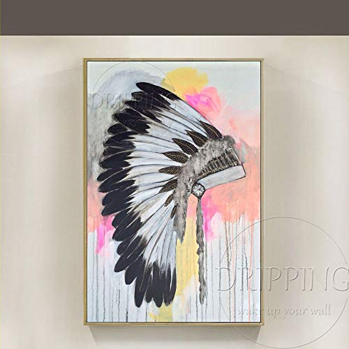 ZHUAIBA Ölgemälde Hohe Qualität WandkunstDekor Künstler handgemalte Moderne Kopfschmuck Ölgemälde Auf Leinwand Indischen Hut Ölgemälde Für Wohnzimmer40x60 CM
