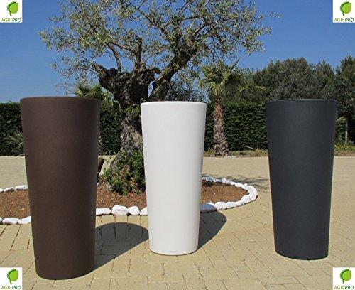 Genesis Pot de fleurs en résine avec cache-pot, rond et haut, (H x L) 70 x 31 cm, gris anthracite