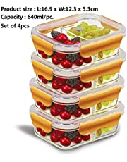PREMIUM QUALITY(4 PACK) 640 ML 2 Compartment Glass Lunch box/Food Storage Containers