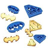 Anokay 4 pcs Set de Moldes Galletas de Superhéroes Superman y Batman para Niños- Cortapastas Bebé para Frutas Cortador Repostería para Decoración DIY de Tartas Postres Cookies Fondant Horno y Pan