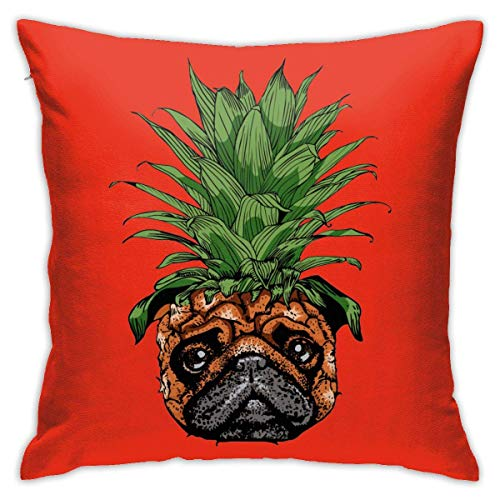 Hangdachang Throw Pillow Case 45cm x 45cm Pineapple Pug Pillowcase,Square Throw Covers,Decorative Cushion for Sofa Couch Car