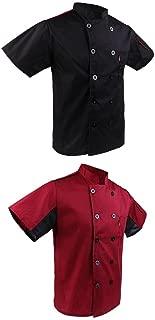 abbigliamento//grembiuli unisex INS07 Giacca da chef a mezza manica con bottoni a pressione