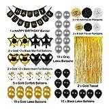 ZiKang La Fiesta de cumpleaños Decoración 51pcs Set Negro Oro Bandera del Feliz cumpleaños Globos de Papel Pompones Foil oropel de la Franja de Cortina (Color : Multi-Colored)