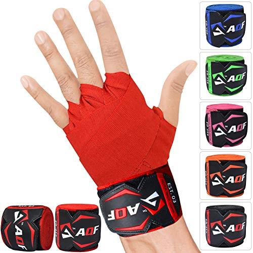 AQF 4.5m Handwickel Innere Handschuhe MMA Boxbandagen Training Muay Thai Stretch (Rot)