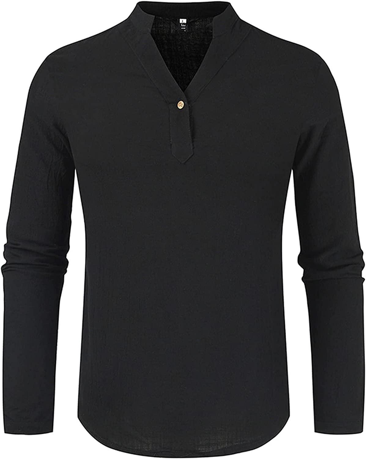 Cotton Linen Casual Tops for Mens, Fall Henley V Neck Long Sleeve Loose Relaxed-fit Solid Color Tee Shirts