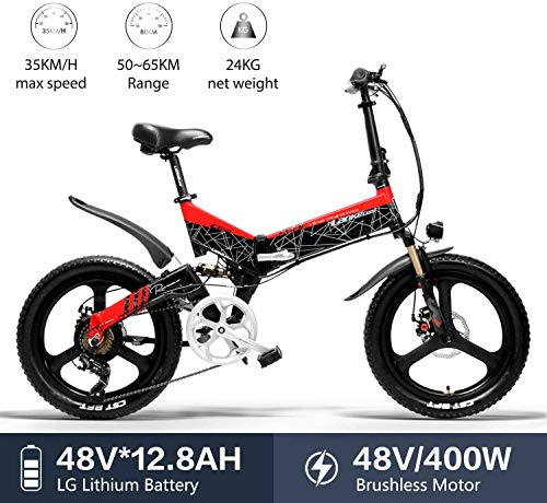 Nonbrand LANKELEISI G650 Elektrofahrrad 20 * 2,4 Big Tire Mountainbike Adult Folding City Elektrofahrrad 400 W 48 V LG Lithium Batterie Shimano 7-Gang E-Bike (Rot)