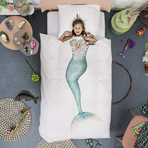 Mermaid Duvet Cover and Pillow Case Set for Kids by SNURK – Twin