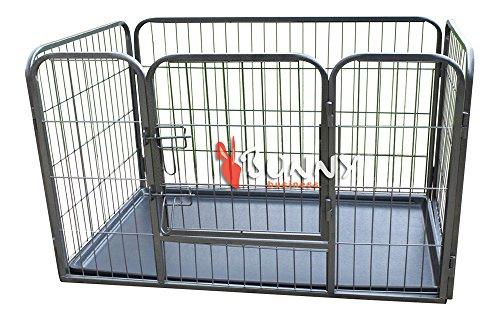 BUNNY BUSINESS Heavy Duty Puppy Gioca Enclosure/Coniglio Penna con plastica Piano, Piccolo, di 93 x 63 x 61 cm, Grigio Canna di Fucile