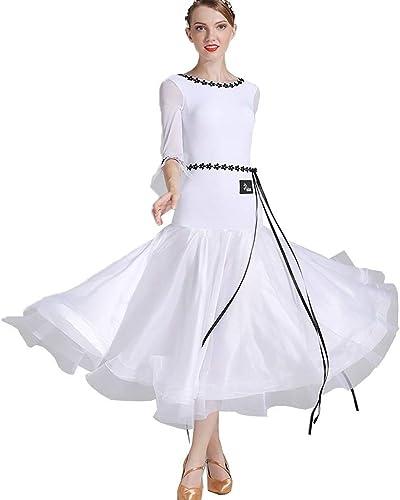JTSYUXN Trompette Robe De Perforhommece De Danse De Salle De Bal Moderne Manches,Norme Nationale Valse Costumes De Danse Sociale Sexy Backless Costume De Pratique De La Danse (Couleur   blanc, Taille   M)