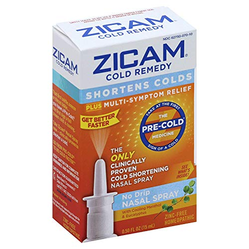 Zicam Cold Remedy No-Drip Nasal Spray with Cooling Menthol & Eucalyptus, 0.5 Ounce