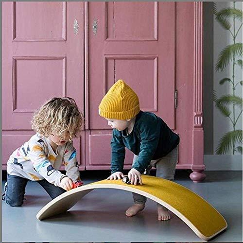 Holz Balance Board, Wobble Balance Board Kinder-Trainingsgeräte Yoga Vorstand Kurvige Vorstand Holz Rocker Board for Kids, Gelb