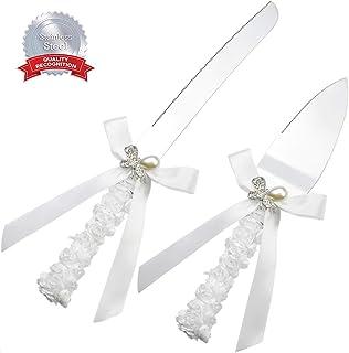 DÉCOCO 2 piezas de cinta de rosa de seda con perla mariposa estilo bola de acero inoxidable cortador de cuchillos de boda para boda aniversario, compromiso, fiesta de cumpleaños con caja de regalo