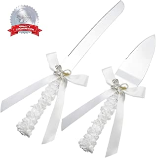 DÉCOCO Rhinestones Butterfly Decoration Wedding Knife Cutter and Server Set for Wedding, Engagement, Anniversary and Birthday Party with Floral Gift Box (Thick Stainless Steel)