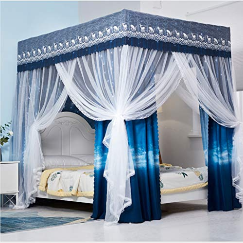 Obokidly DIY Cute Bed Curtain Canopy with Mosquito Net 2 in 1 Useage Ways Princess 4 Corner Post Bed Canopy Bedroom Decoration for Adults Girls Bed Canopies Child Gift (Queen, Blue-Star)