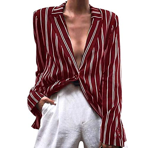 MIRRAY Damen Mode Gestreift Langarm-Mantel Revers V-Ausschnitt Casual Jacken Tops