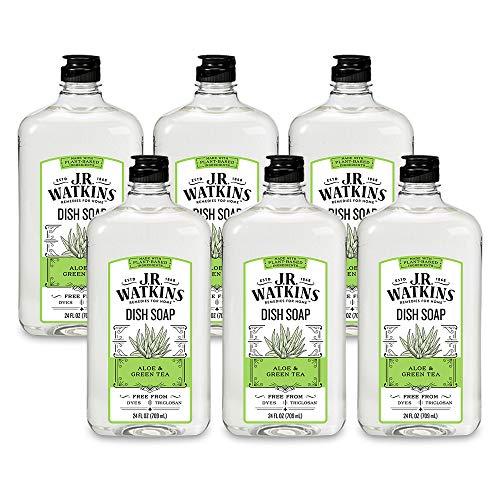 J.R. Watkins Dish Soap, Liquid, 24 fl oz, Aloe & Green Tea (6 pack)
