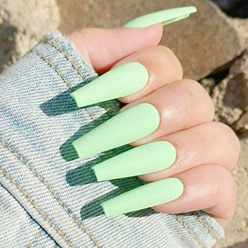 Bmirth Extra Long Press on Nails Coffin Fake Nails Ballerina False Nails Full Cover Acrylic Nails for Women and Girls (Matte Light Green)