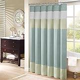 Madison Park Amherst Bathroom Shower Faux Silk Pieced Striped Modern Microfiber Bath Curtains, 72x72 Inches, Green