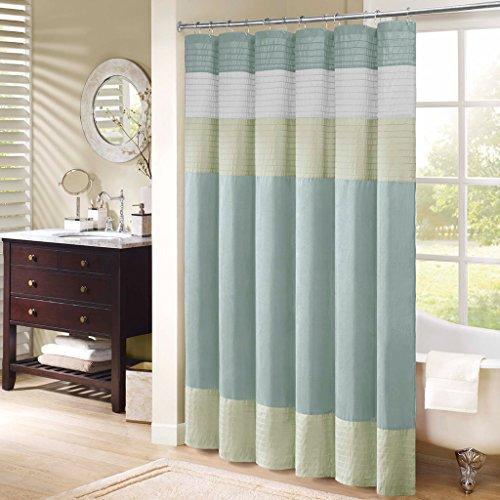 Madison Park Amherst Bathroom Shower Curtain Faux Silk Pieced Striped Modern Microfiber Bath Décor, 72x72 Inches, Green