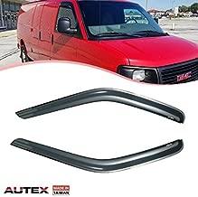 AUTEX 2Pcs Tape On Window Visor Deflectors Compatible with Chevrolet Express/GMC Savana Vans 1500-3500 1996-2018 Compatible with Kodiak/Topkick C4500-C5500 with Standard Cab 2003-2009