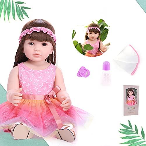 ZIYIUI Bambole Reborn Femmina 22 Pollici 55 CM Full Realistico Silicone Morbido Simulazione Neonato Bambolina Reborn Doll Bello Ragazza del Ragazzo Regalo di Natale Giocattolo Bambini