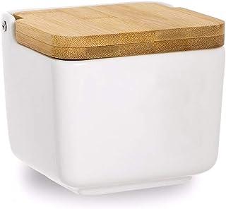 Dream Hogar Salero Cocina Original con Tapa Bambu Ceramica Blanco 12x12x11 cm