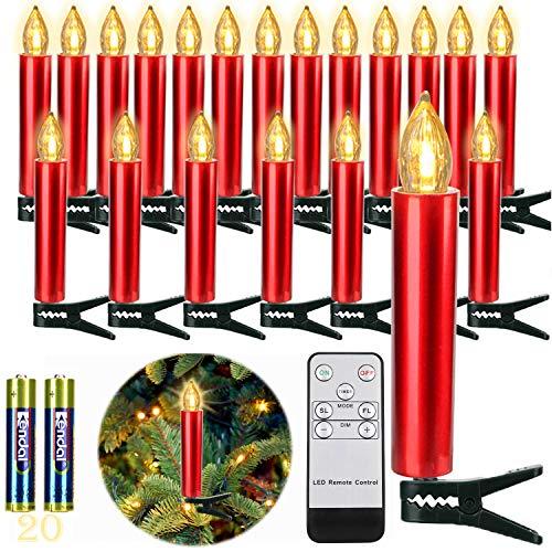 20er Rot LED Kerzen LichterketteKerzen Weihnachtskerzen Weihnachtsbaum Kerzen Kabellos mit Fernbedienung Timer Flackern, Außen-Innen, für Weihnachten Hochzeit Geburtstags Party(Mit 22 Batterien)