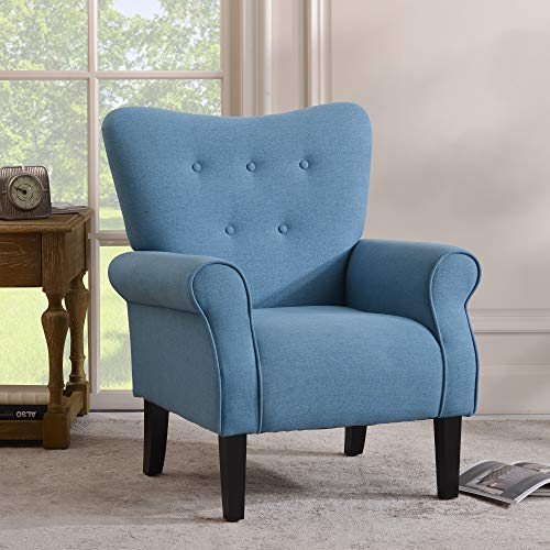 Merax Modern Upholstered Accent Chair Armchair for Bedroom, Living Room or Office, Linen, Including Thick Cushion and Wooden Legs, Blue