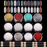 ANDERK 12 cajas Shell Polvo de Perlas Espejo Efecto Cromo Uñas de Sirena, polvo Brillo y Decoración de uñas con 12pcs Palillo de la Esponja