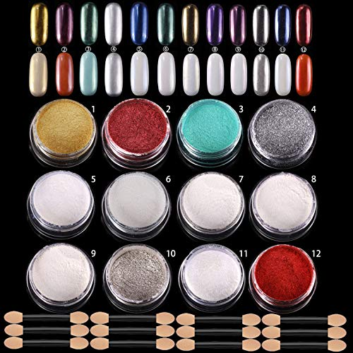 ANDERK 12 Kästen Nagel Spiegel Pulver Mirror Powder Chrome Pulver nägel Set Nail Glitzerpuder...