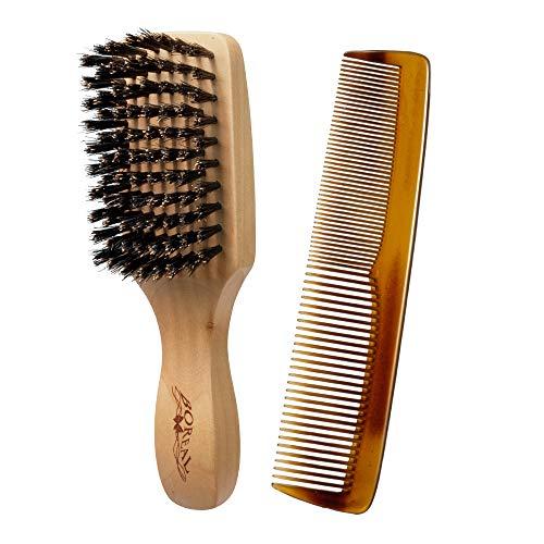 set barba uomo. Spazzola uomo districante in legno per barba e pettine per baffi. Made in Italy.