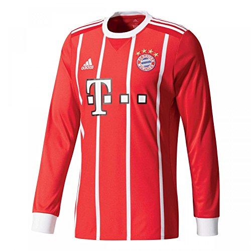 adidas FC Bayern München Home Replica Jersey Longsleeve 2017/18 Camiseta 1ª Equipación Munich 2017-2018, Hombre, Rojo (rojfcb/Blanco), S