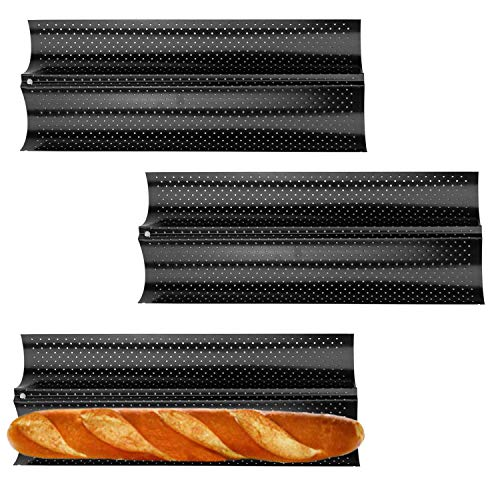 Fasmov 3 Pack French Bread Baking Pan Nonstick Perforated Baguette Pan 2 Wave Loaves Loaf Bake Mold Toast Cooking Bakers Molding, Black